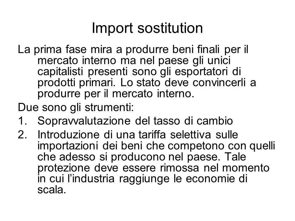 Import sostitution La prima fase mira a produrre beni finali per il mercato interno ma nel paese gli unici capitalisti presenti sono gli esportatori di prodotti primari.