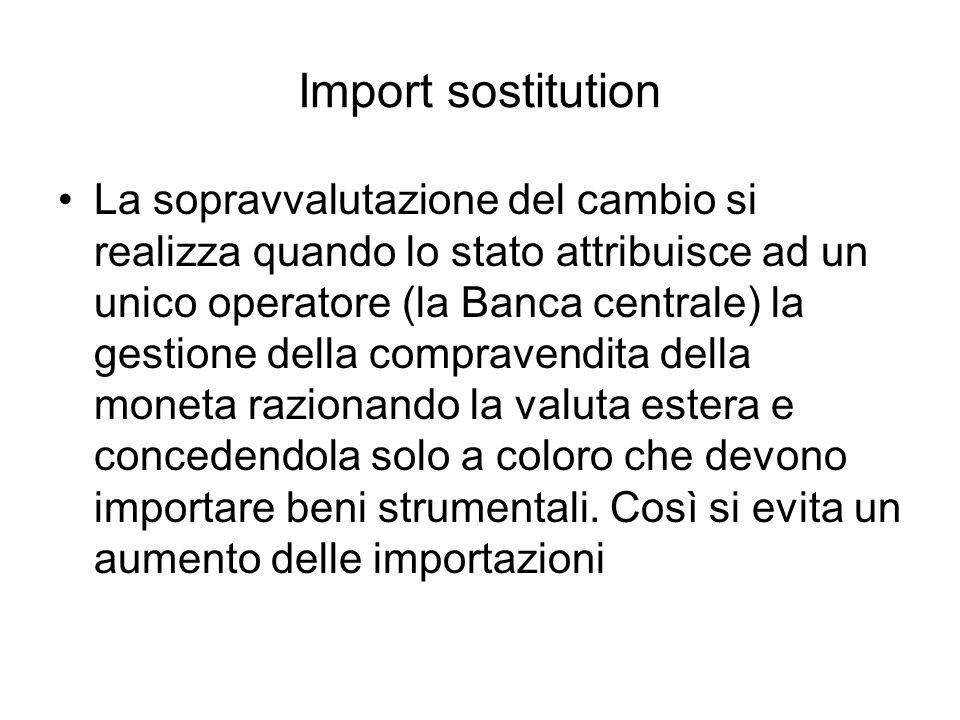 Import sostitution La sopravvalutazione del cambio si realizza quando lo stato attribuisce ad un unico operatore (la Banca centrale) la gestione della