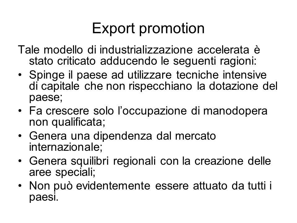 Export promotion Tale modello di industrializzazione accelerata è stato criticato adducendo le seguenti ragioni: Spinge il paese ad utilizzare tecnich