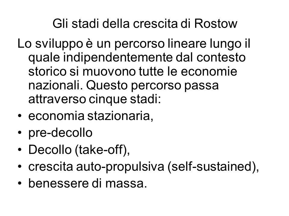 Gli stadi della crescita di Rostow Lo sviluppo è un percorso lineare lungo il quale indipendentemente dal contesto storico si muovono tutte le economi