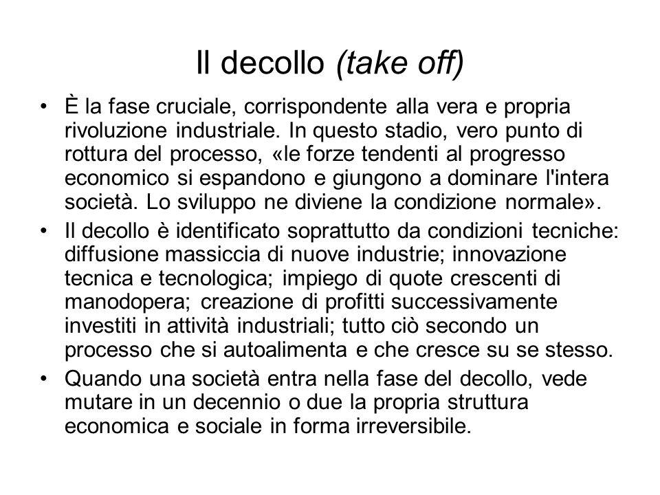 Il decollo (take off) È la fase cruciale, corrispondente alla vera e propria rivoluzione industriale.