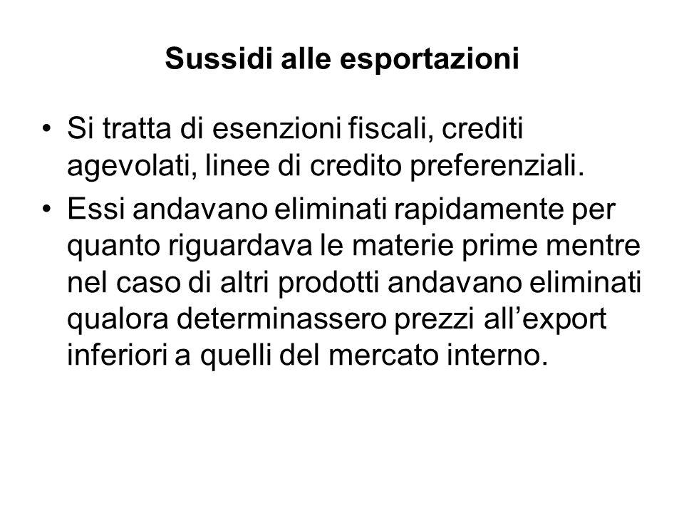 Sussidi alle esportazioni Si tratta di esenzioni fiscali, crediti agevolati, linee di credito preferenziali.