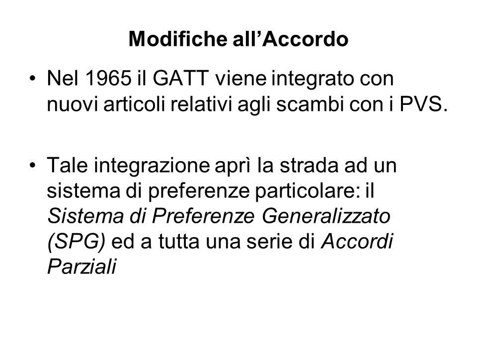 Modifiche allAccordo Nel 1965 il GATT viene integrato con nuovi articoli relativi agli scambi con i PVS. Tale integrazione aprì la strada ad un sistem