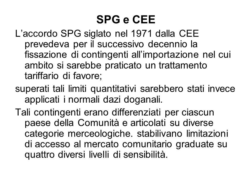 SPG e CEE Laccordo SPG siglato nel 1971 dalla CEE prevedeva per il successivo decennio la fissazione di contingenti allimportazione nel cui ambito si sarebbe praticato un trattamento tariffario di favore; superati tali limiti quantitativi sarebbero stati invece applicati i normali dazi doganali.