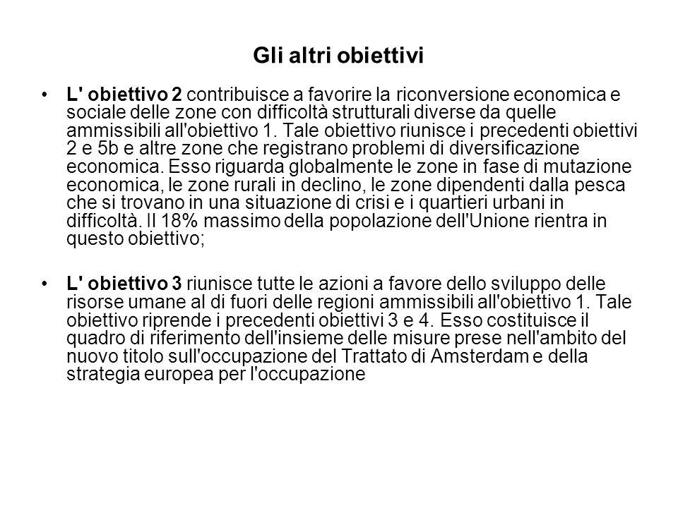 Gli altri obiettivi L obiettivo 2 contribuisce a favorire la riconversione economica e sociale delle zone con difficoltà strutturali diverse da quelle ammissibili all obiettivo 1.