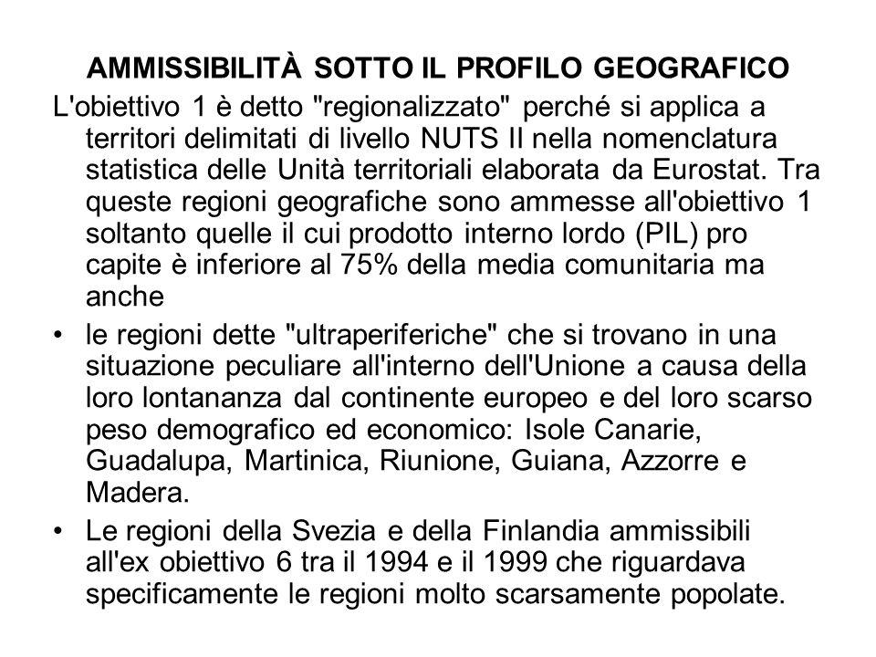 AMMISSIBILITÀ SOTTO IL PROFILO GEOGRAFICO L obiettivo 1 è detto regionalizzato perché si applica a territori delimitati di livello NUTS II nella nomenclatura statistica delle Unità territoriali elaborata da Eurostat.
