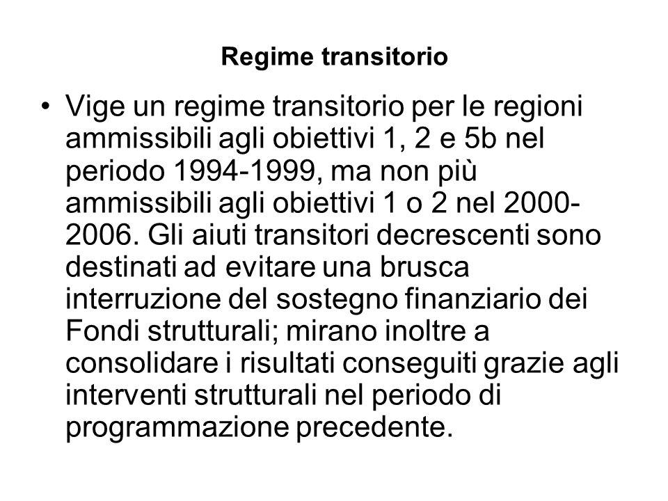 Regime transitorio Vige un regime transitorio per le regioni ammissibili agli obiettivi 1, 2 e 5b nel periodo 1994-1999, ma non più ammissibili agli obiettivi 1 o 2 nel 2000- 2006.