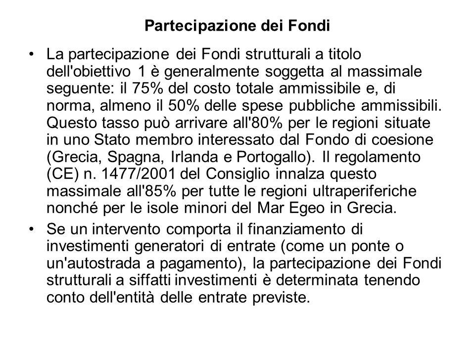 Partecipazione dei Fondi La partecipazione dei Fondi strutturali a titolo dell obiettivo 1 è generalmente soggetta al massimale seguente: il 75% del costo totale ammissibile e, di norma, almeno il 50% delle spese pubbliche ammissibili.