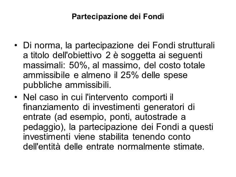 Partecipazione dei Fondi Di norma, la partecipazione dei Fondi strutturali a titolo dell obiettivo 2 è soggetta ai seguenti massimali: 50%, al massimo, del costo totale ammissibile e almeno il 25% delle spese pubbliche ammissibili.