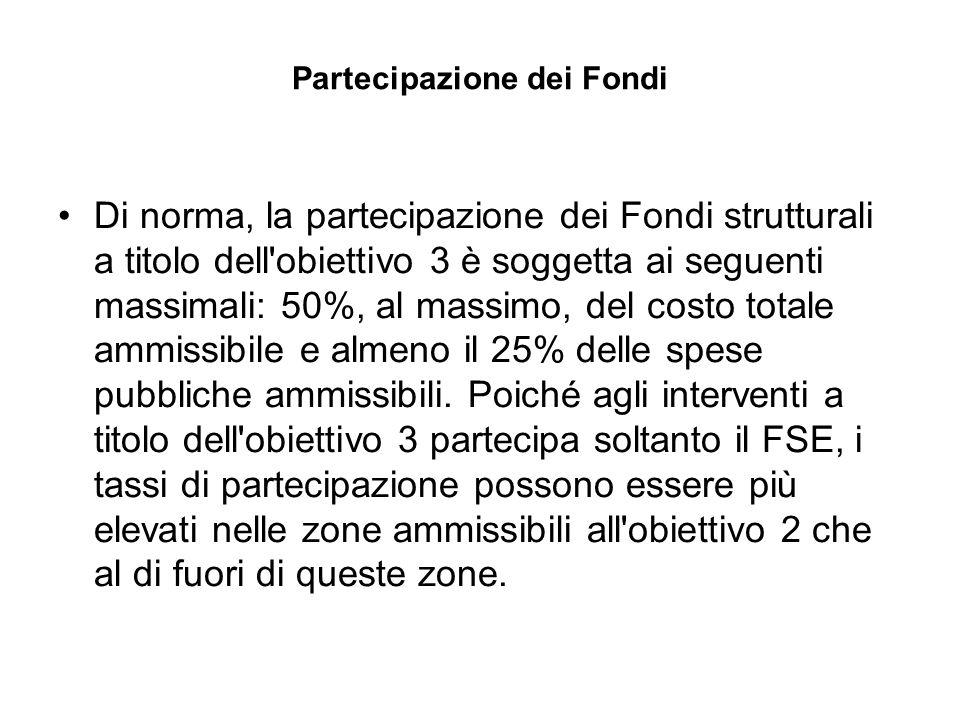 Partecipazione dei Fondi Di norma, la partecipazione dei Fondi strutturali a titolo dell obiettivo 3 è soggetta ai seguenti massimali: 50%, al massimo, del costo totale ammissibile e almeno il 25% delle spese pubbliche ammissibili.
