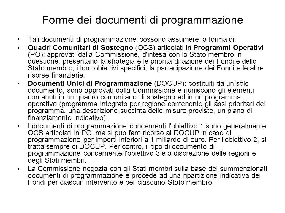 Forme dei documenti di programmazione Tali documenti di programmazione possono assumere la forma di: Quadri Comunitari di Sostegno (QCS) articolati in Programmi Operativi (PO): approvati dalla Commissione, d intesa con lo Stato membro in questione, presentano la strategia e le priorità di azione dei Fondi e dello Stato membro, i loro obiettivi specifici, la partecipazione dei Fondi e le altre risorse finanziarie; Documenti Unici di Programmazione (DOCUP): costituiti da un solo documento, sono approvati dalla Commissione e riuniscono gli elementi contenuti in un quadro comunitario di sostegno ed in un programma operativo (programma integrato per regione contenente gli assi prioritari del programma, una descrizione succinta delle misure previste, un piano di finanziamento indicativo).