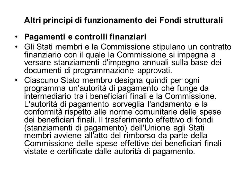 Altri principi di funzionamento dei Fondi strutturali Pagamenti e controlli finanziari Gli Stati membri e la Commissione stipulano un contratto finanziario con il quale la Commissione si impegna a versare stanziamenti d impegno annuali sulla base dei documenti di programmazione approvati.