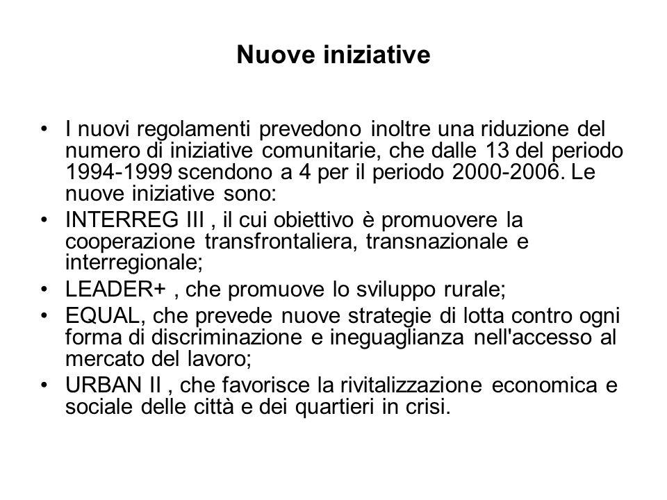 Nuove iniziative I nuovi regolamenti prevedono inoltre una riduzione del numero di iniziative comunitarie, che dalle 13 del periodo 1994-1999 scendono a 4 per il periodo 2000-2006.