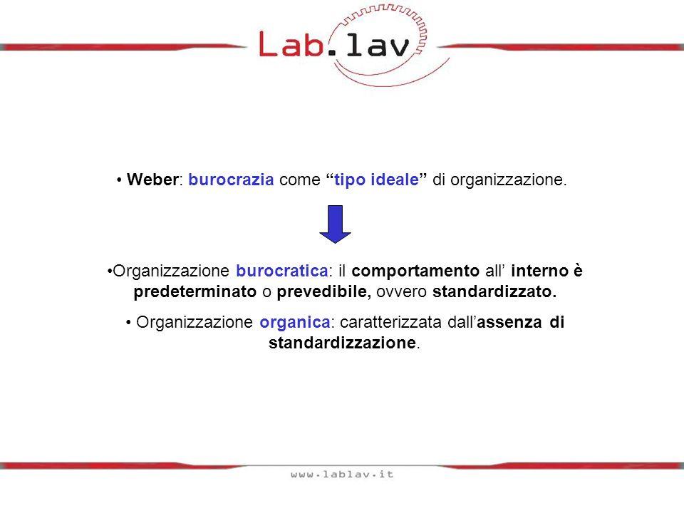 Weber: burocrazia come tipo ideale di organizzazione.
