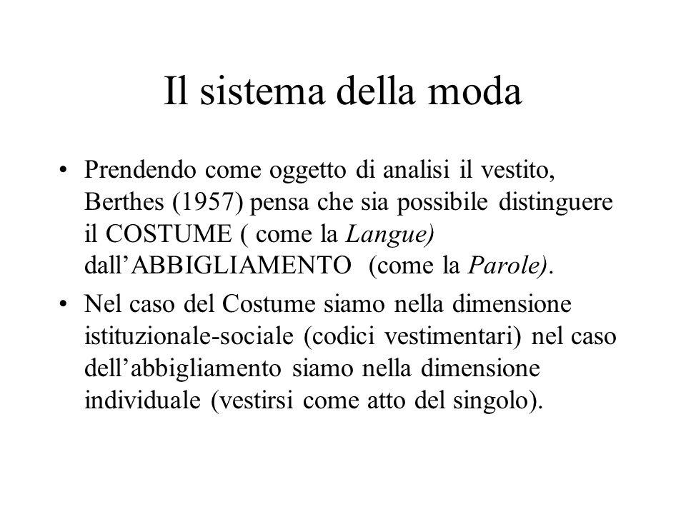 Il sistema della moda Prendendo come oggetto di analisi il vestito, Berthes (1957) pensa che sia possibile distinguere il COSTUME ( come la Langue) da