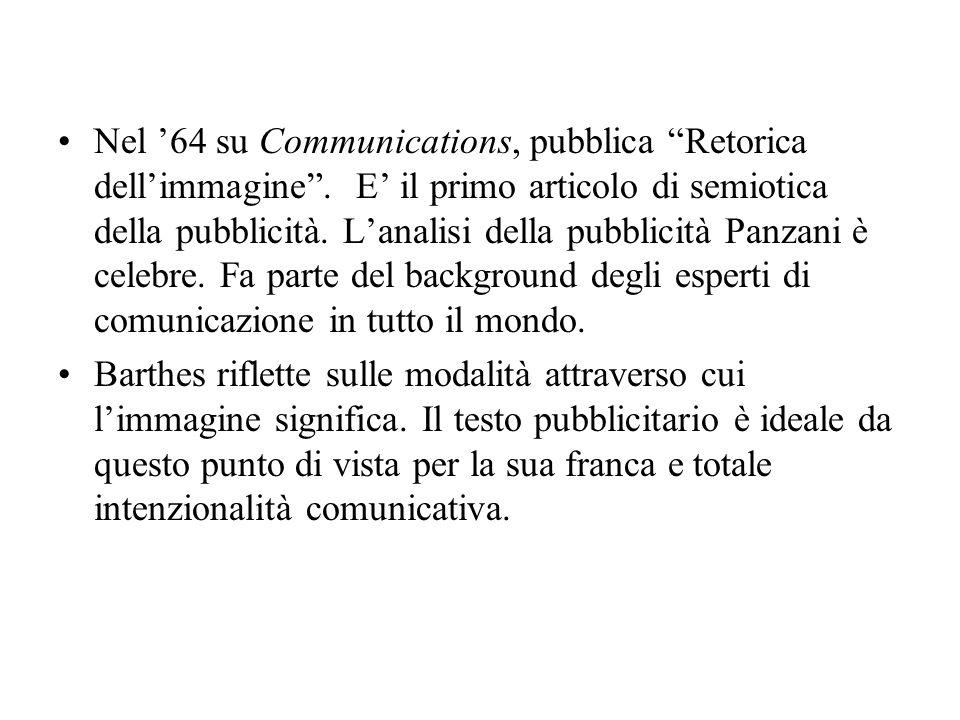Nel 64 su Communications, pubblica Retorica dellimmagine. E il primo articolo di semiotica della pubblicità. Lanalisi della pubblicità Panzani è celeb