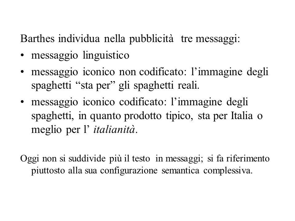 Barthes individua nella pubblicità tre messaggi: messaggio linguistico messaggio iconico non codificato: limmagine degli spaghetti sta per gli spaghet