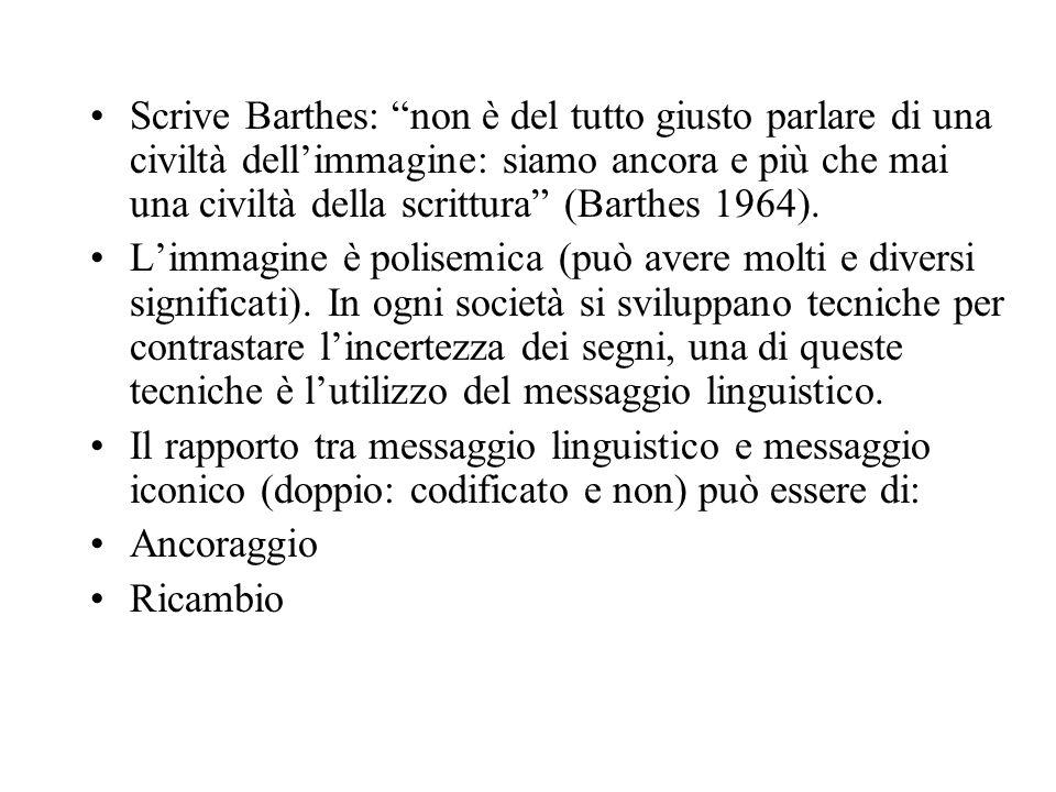 Scrive Barthes: non è del tutto giusto parlare di una civiltà dellimmagine: siamo ancora e più che mai una civiltà della scrittura (Barthes 1964). Lim