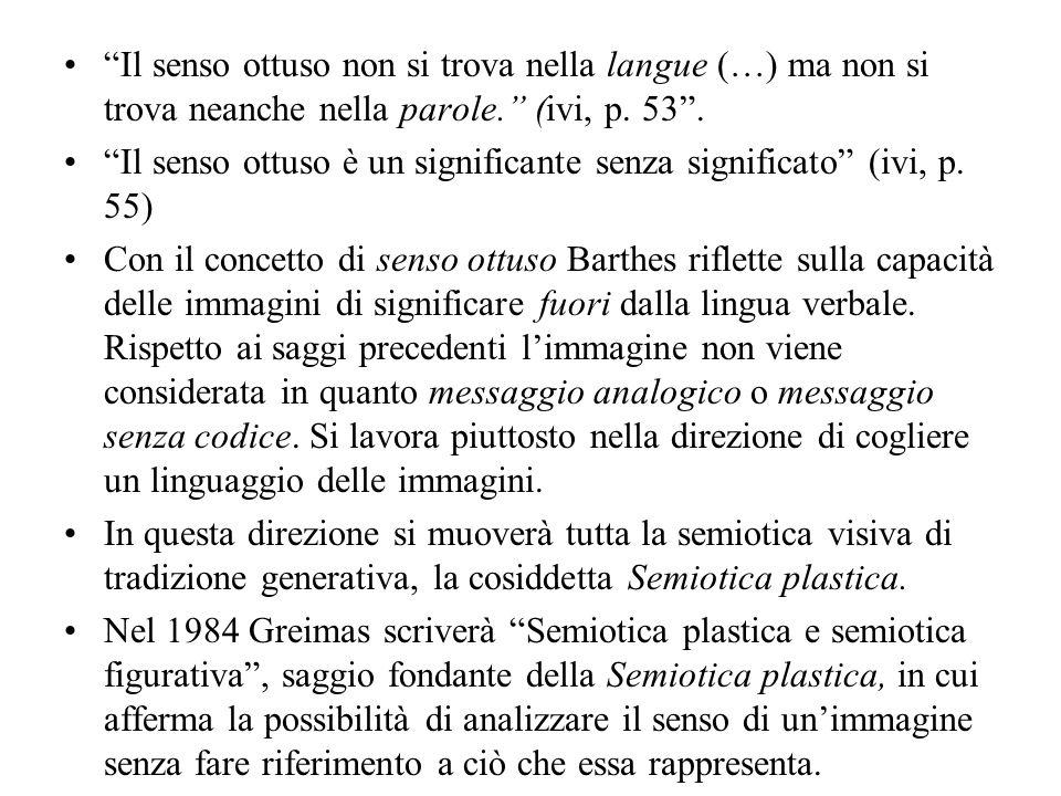 Il senso ottuso non si trova nella langue (…) ma non si trova neanche nella parole. (ivi, p. 53. Il senso ottuso è un significante senza significato (