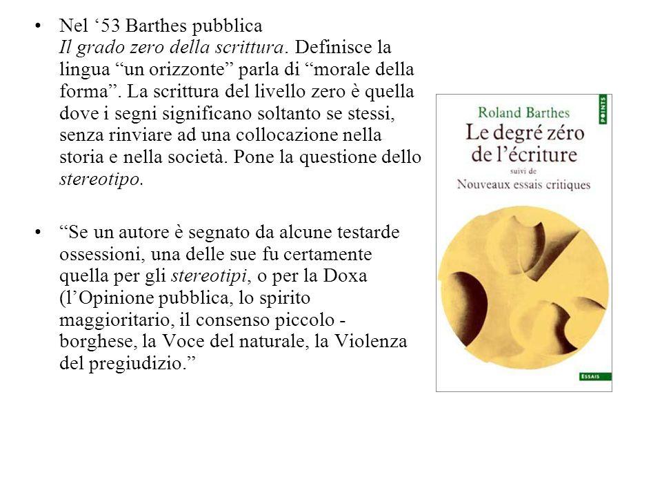 Nel 53 Barthes pubblica Il grado zero della scrittura. Definisce la lingua un orizzonte parla di morale della forma. La scrittura del livello zero è q