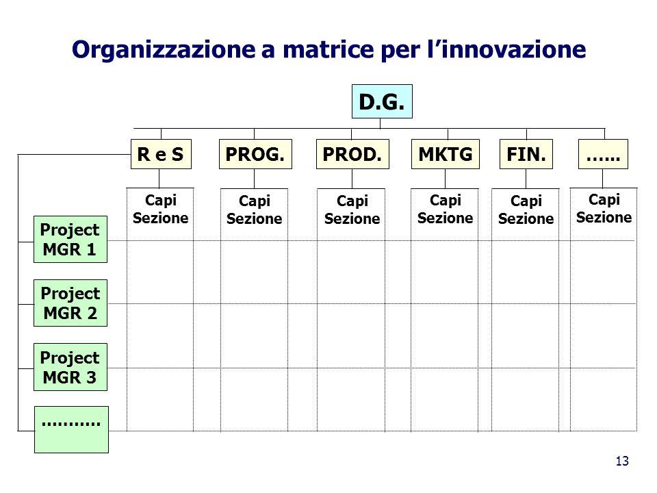 13 Organizzazione a matrice per linnovazione D.G. R e SPROG.PROD.MKTGFIN.…... Project MGR 1 Project MGR 2 Project MGR 3 …..…… Capi Sezione Capi Sezion