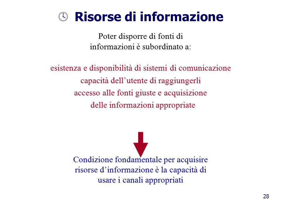 28 º Risorse di informazione Poter disporre di fonti di informazioni è subordinato a: esistenza e disponibilità di sistemi di comunicazione capacità d