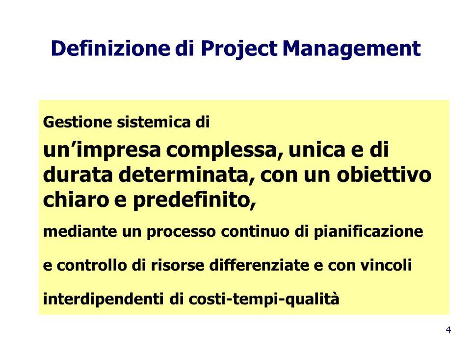 4 Definizione di Project Management Gestione sistemica di unimpresa complessa, unica e di durata determinata, con un obiettivo chiaro e predefinito, m