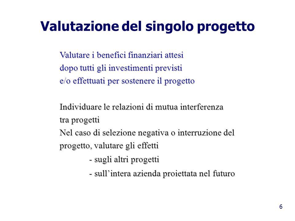 6 Valutazione del singolo progetto Valutare i benefici finanziari attesi dopo tutti gli investimenti previsti e/o effettuati per sostenere il progetto