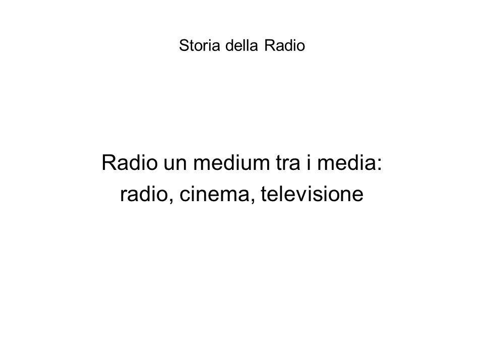 Storia della Radio Radio un medium tra i media: radio, cinema, televisione