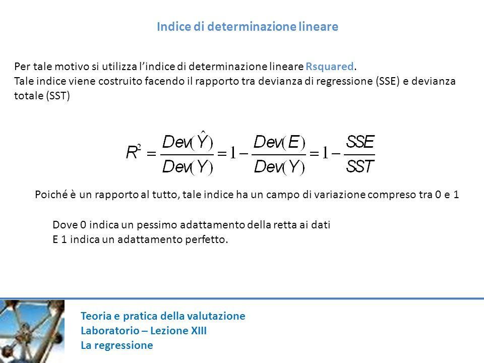 Teoria e pratica della valutazione Laboratorio – Lezione XIII La regressione Indice di determinazione lineare Per tale motivo si utilizza lindice di determinazione lineare Rsquared.