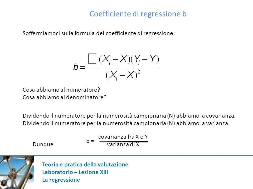Coefficiente di regressione b Soffermiamoci sulla formula del coefficiente di regressione: Cosa abbiamo al numeratore? Cosa abbiamo al denominatore? D