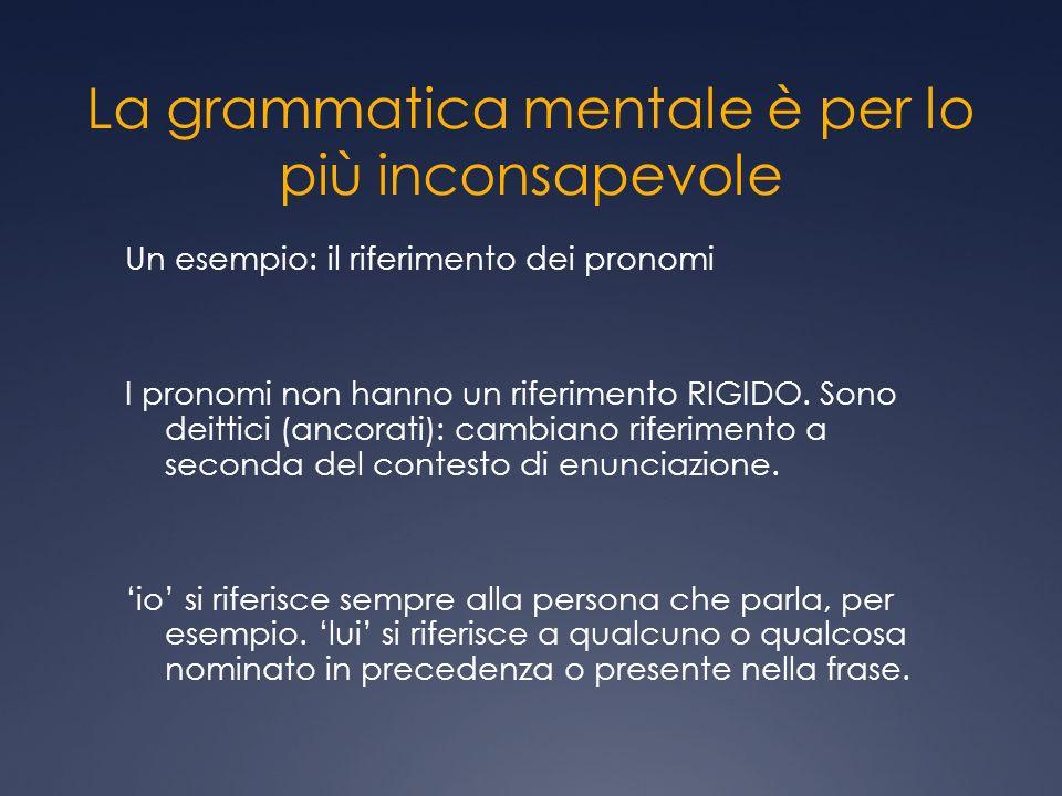 La grammatica mentale è per lo più inconsapevole Un esempio: il riferimento dei pronomi I pronomi non hanno un riferimento RIGIDO. Sono deittici (anco