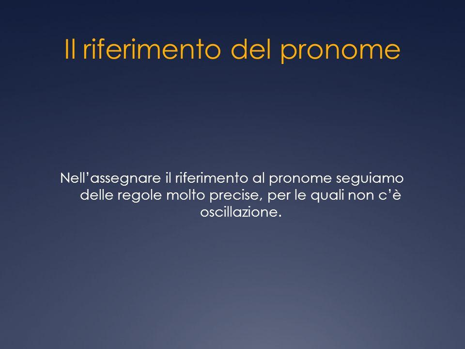 Il riferimento del pronome Nellassegnare il riferimento al pronome seguiamo delle regole molto precise, per le quali non cè oscillazione.