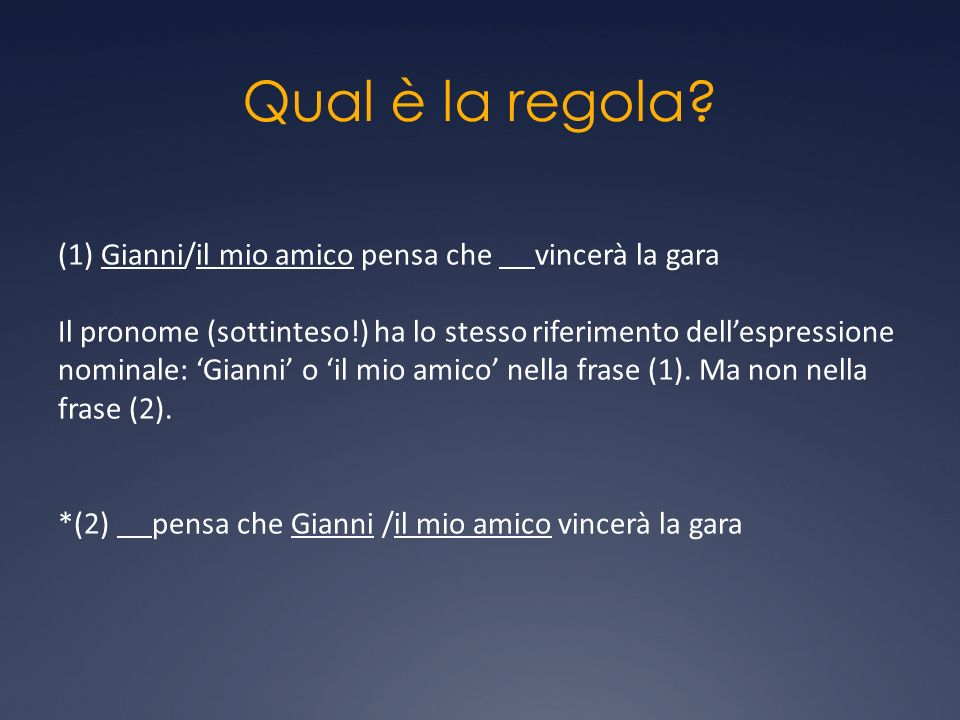 Qual è la regola? (1) Gianni/il mio amico pensa che vincerà la gara Il pronome (sottinteso!) ha lo stesso riferimento dellespressione nominale: Gianni