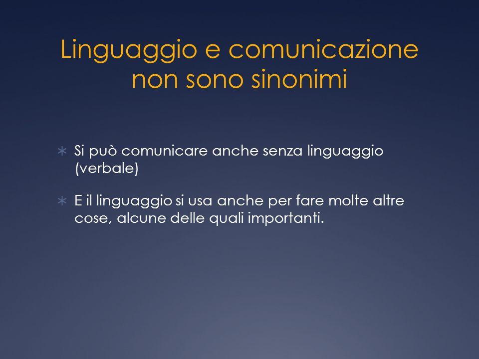 Linguaggio e comunicazione non sono sinonimi Si può comunicare anche senza linguaggio (verbale) E il linguaggio si usa anche per fare molte altre cose, alcune delle quali importanti.