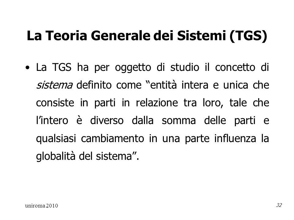 uniroma 2010 32 La Teoria Generale dei Sistemi (TGS) La TGS ha per oggetto di studio il concetto di sistema definito come entità intera e unica che consiste in parti in relazione tra loro, tale che lintero è diverso dalla somma delle parti e qualsiasi cambiamento in una parte influenza la globalità del sistema.