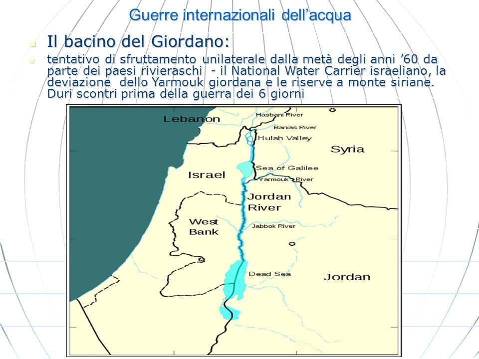Guerre internazionali dellacqua Il bacino del Giordano: Il bacino del Giordano: tentativo di sfruttamento unilaterale dalla metà degli anni 60 da part