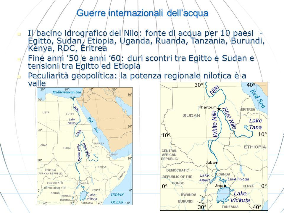 Guerre internazionali dellacqua Il bacino idrografico del Nilo: fonte di acqua per 10 paesi - Egitto, Sudan, Etiopia, Uganda, Ruanda, Tanzania, Burund