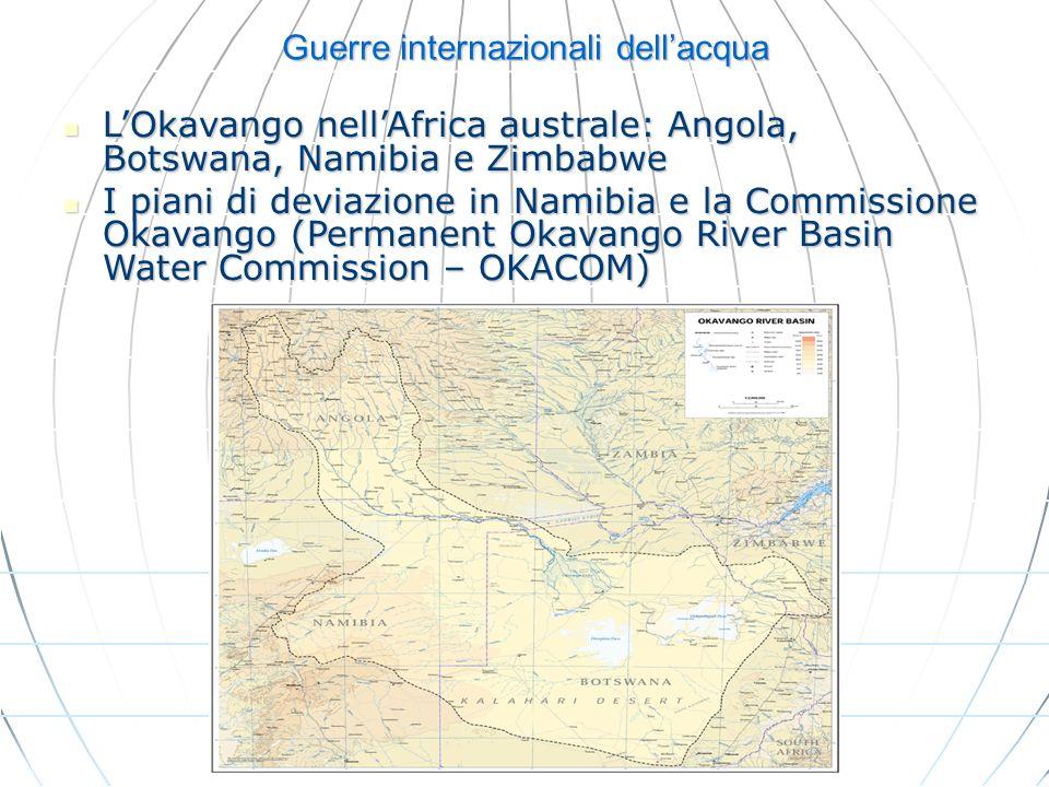 Guerre internazionali dellacqua LOkavango nellAfrica australe: Angola, Botswana, Namibia e Zimbabwe LOkavango nellAfrica australe: Angola, Botswana, N