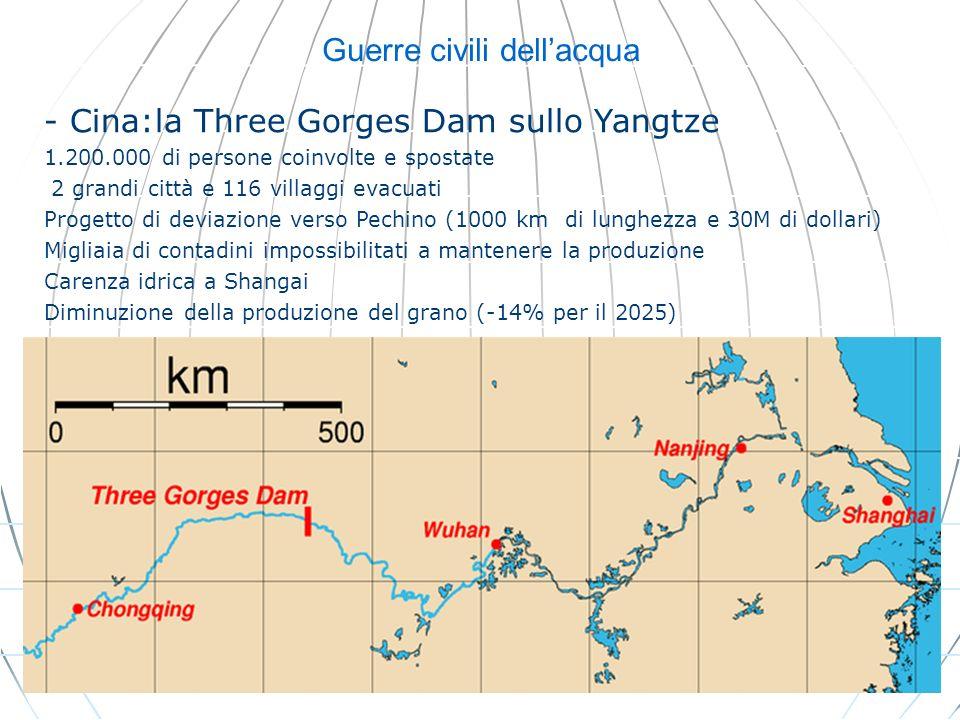 Guerre civili dellacqua - Cina:la Three Gorges Dam sullo Yangtze 1.200.000 di persone coinvolte e spostate 2 grandi città e 116 villaggi evacuati Prog