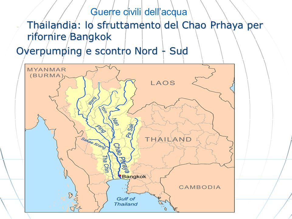 Guerre civili dellacqua - Thailandia: lo sfruttamento del Chao Prhaya per rifornire Bangkok Overpumping e scontro Nord - Sud