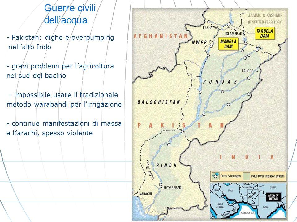 Guerre civili dellacqua - Pakistan: dighe e overpumping - nellalto Indo - gravi problemi per lagricoltura nel sud del bacino - impossibile usare il tr
