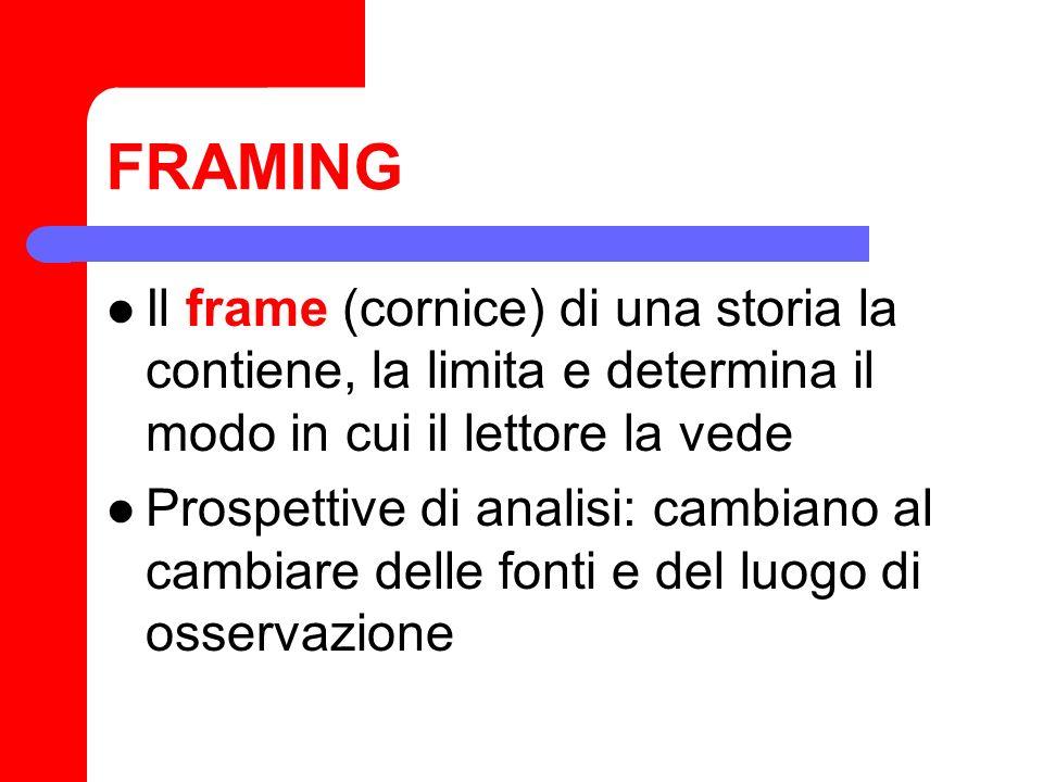 FRAMING Il frame (cornice) di una storia la contiene, la limita e determina il modo in cui il lettore la vede Prospettive di analisi: cambiano al camb