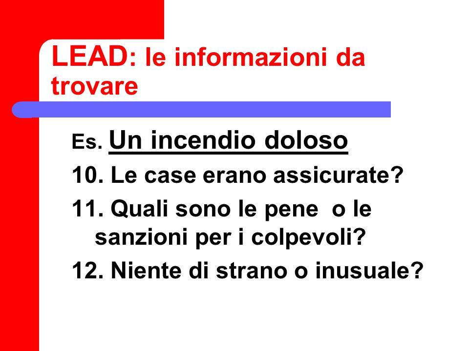 Scrivere il LEAD 1.Controllare sempre nomi e dati 2.