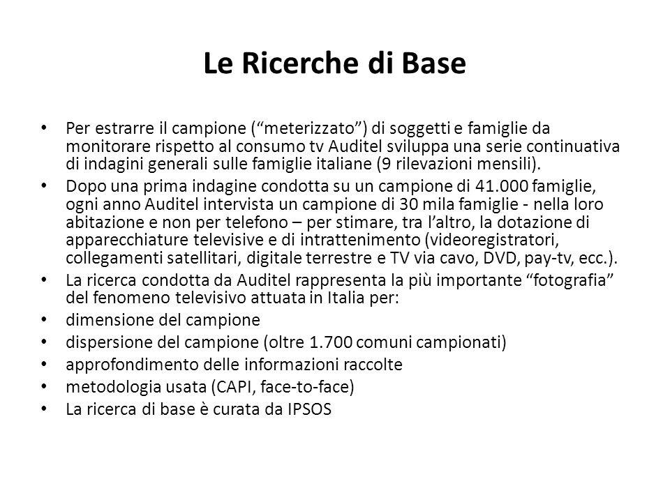 Le Ricerche di Base Per estrarre il campione (meterizzato) di soggetti e famiglie da monitorare rispetto al consumo tv Auditel sviluppa una serie continuativa di indagini generali sulle famiglie italiane (9 rilevazioni mensili).