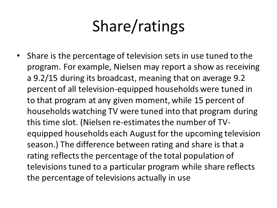 Share/ratings Share is the percentage of television sets in use tuned to the program.