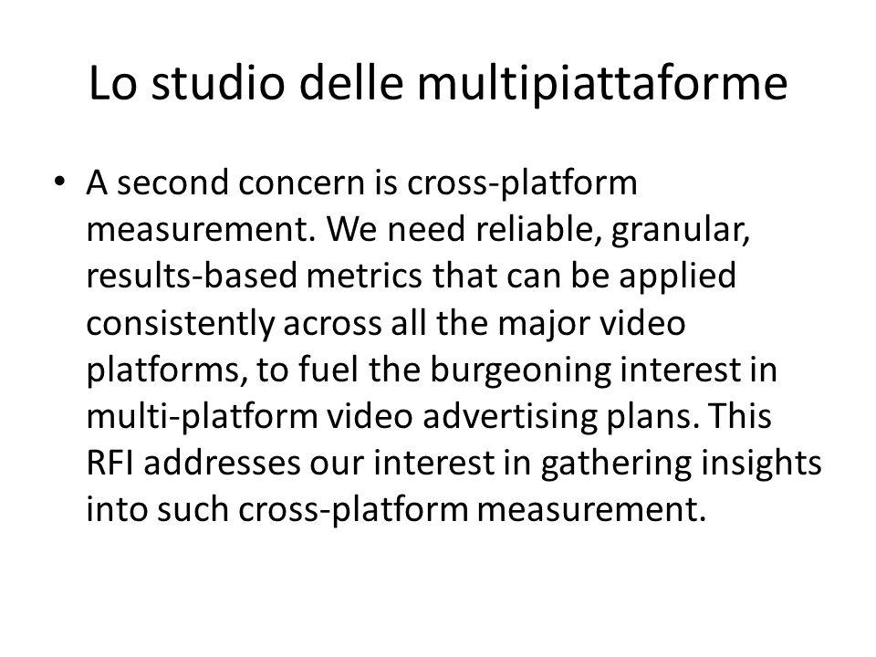 Lo studio delle multipiattaforme A second concern is cross-platform measurement.