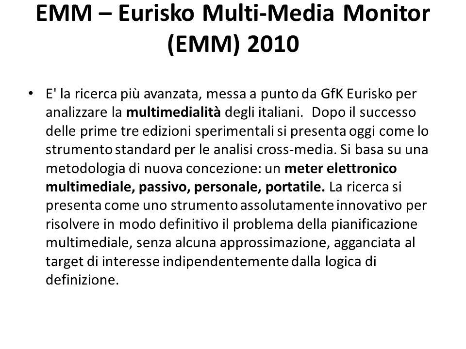 EMM – Eurisko Multi-Media Monitor (EMM) 2010 E la ricerca più avanzata, messa a punto da GfK Eurisko per analizzare la multimedialità degli italiani.