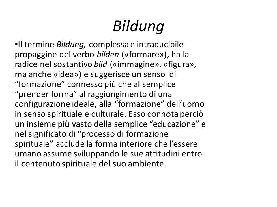 Bildung Il termine Bildung, complessa e intraducibile propaggine del verbo bilden («formare»), ha la radice nel sostantivo bild («immagine», «figura»,