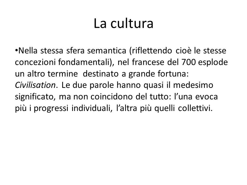 La cultura Nella stessa sfera semantica (riflettendo cioè le stesse concezioni fondamentali), nel francese del 700 esplode un altro termine destinato